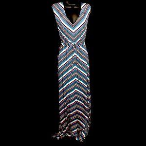 Jessica Simpson Maternity Striped Maxi Dress Sz L